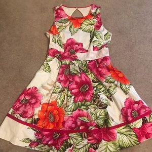 Eliza J pink floral A-line dress